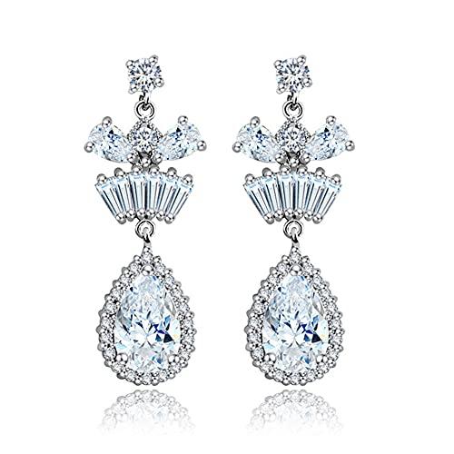 Pendientes de diamantes simulados con letra inicial helada para hombre, mujer, plata de ley 925, joyería personalizada, regalo, pendientes colgantes de moda