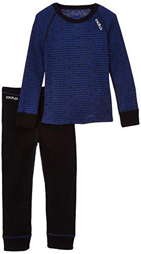 Odlo – Set Linge de garçon, t-Shirt Manches Longues et Pantalon Longs, Unterwäsche & Sets Set Shirt Long Sleeve Pants Long Warm Kids, Black - Estate Blue