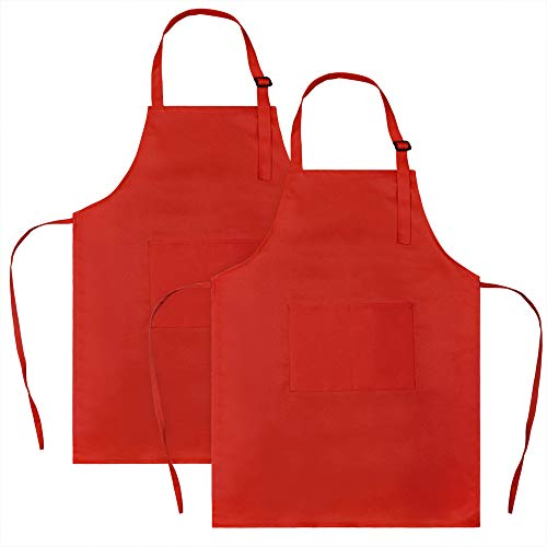 SINLAND Kids Apron with Pocket 2 Pack Children Chef Apron for Cooking Baking Painting (M: 6-12 Years)
