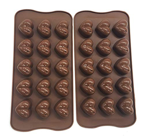 Lot de 2 moules à chocolat en forme de cœur en silicone pour chocolat, bombe grasse Keto et beurre de cacahuètes