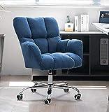 Silla giratoria de terciopelo tapizada para oficina, estilo moderno, simple, para el hogar, sala de estar, dormitorio, color gris y azul oscuro perfecto
