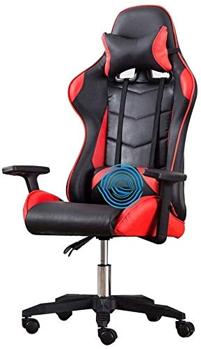 WYL High-Back PU Leather Gaming Desk Chair ,Reclining Ergonomic Racing Office Chair with Headrest and Massage Lumbar Pillow (Color : Black Red)