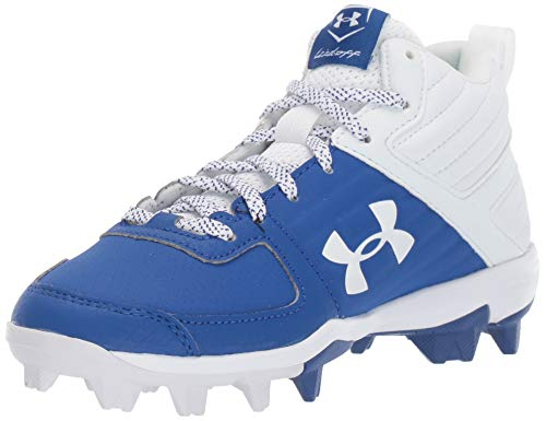 Under Armour Boys' Leadoff Mid RM Jr. Baseball Shoe, Royal (400)/White, 4.5