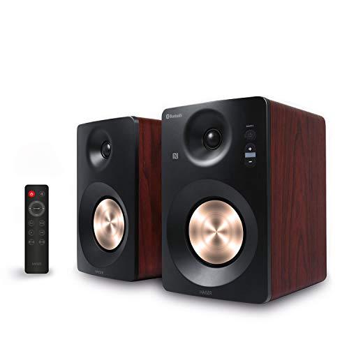 HAISER HSR 120 BT PRO | 60 Watt RMS Aktiv Studio-Lautsprecher Paar mit • Bluetooth • NFC • USB • Boxen • Neodym | Aktiv-Lautsprecher-System Regal-Lautsprecher PC-Lautsprecher mit Fernbedienung TS