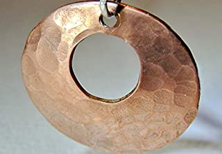 Hammered Copper Pendant Disc Handmade with Circular Window Cut Out