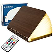 Led Book Light Wooden Folding Lamp with Remote Control, 12 Colours & Timer – BONNYCO   Table Book Lamp Night Light Perfect for Home, Office & Room Decor   Christmas & Birthday Gifts for Men and Women