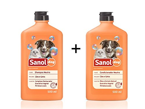 Shampoo e Condicionador Neutro para Cachorro e Gato Sanol