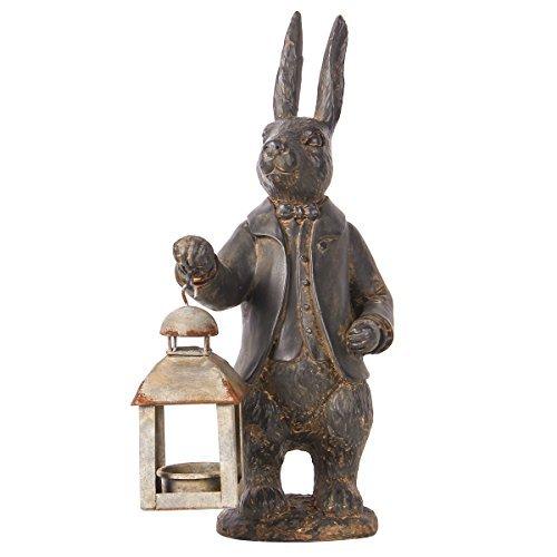 Nikky casa Vintage farol portavelas de metal escultura de resina de conejo figura decorativa de conejo