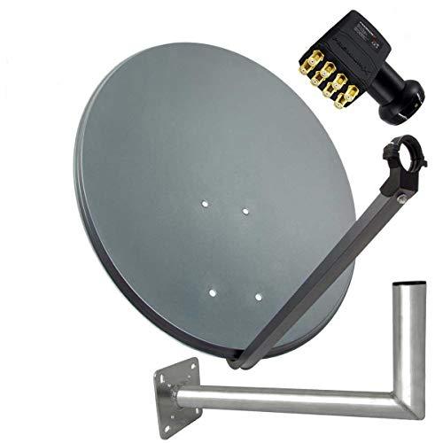 PremiumX SAT Anlage 80cm Anthrazit Satellitenantenne Stahl Satellitenschüssel Octo LNB Wandhalter 45cm ALU 8TN 16 Stecker