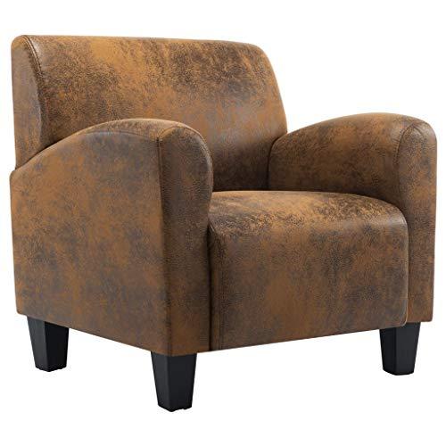 vidaXL Sillón de Piel de Ante Artificial Descanso Relajación Decoración Muebles Interior Casa Hogar Diseño Estético Ergonómico Duradero Marrón