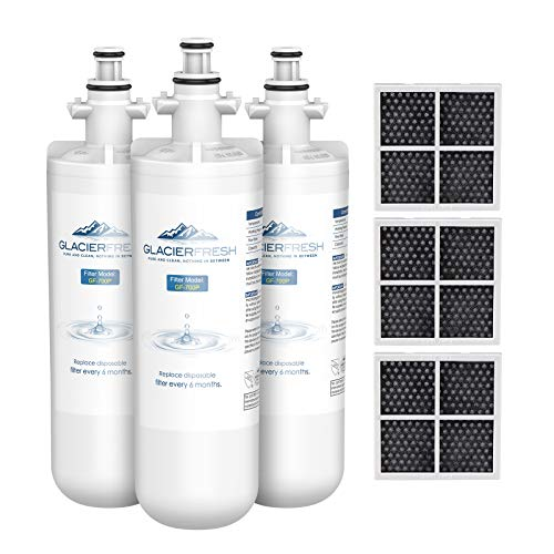 GLACIER FRESH for LG LT700P Refrigerator Water Filter, Replacement for LT700PC, ADQ36006101, ADQ36006102, RWF1200A, Kenmore 9690, AGF80300801, LFXC24726S, LMXS27626S and LT120F Air Filters, 3 Packs