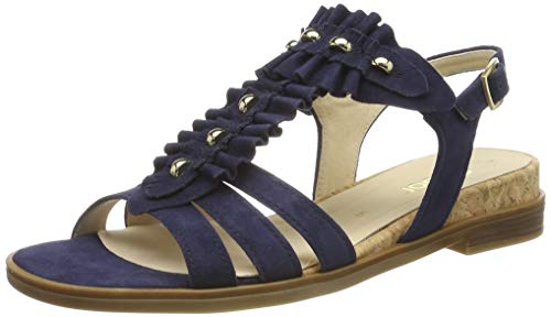 Gabor Shoes Damen Casual Riemchensandalen, Blau (Bluette/Natur 16), 43 EU