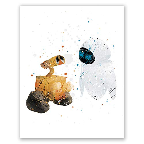 PGbureau Wall-E and Eve Poster – Kids Nursery Wall Art Movie Print - Watercolor Home Room Decor – Party Supplies Decoration – Birthday (8x10)