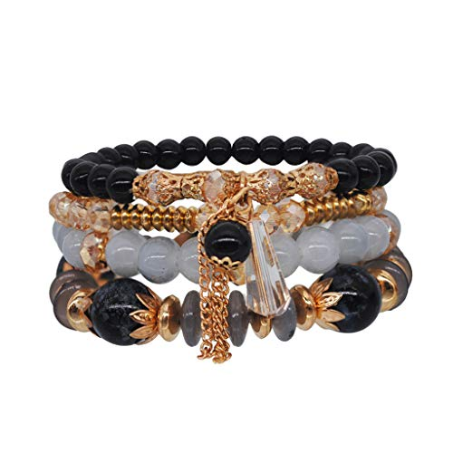 jieGorge Accessory, Women Bohemian hand string ocean style multi circle Pearl Crystal Bracelet, Clothing Shoes & Accessories (Black Free Size)