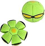 Magic Flying Ball Vent Ball UFO Magic Soccer Deformation Ball Flying Saucer Ball Flying Disk with Led Light Children Outdoor Fun Gift (Green, 3 lamp Sucker)
