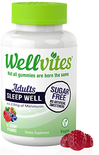 Wellvites Sleep Well Sugar Free Melatonin for Adults - 2.5mg Per Gummy | Nighttime Sleep Aid | Natural Berry Flavor | Vegan, Non-GMO and Gluten Free