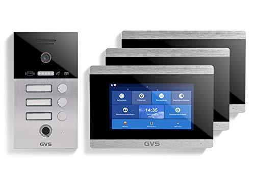 GVS IP Video Türsprechanlage, Unterputz-Türstation IP65 mit RFID und Fingerprint, 3X 7 Zoll Monitor, App, HD-Kamera 156°, Türöffner-Fkt, 32GB Speicher, PoE-Switch, 3 Familienhaus Set, AVS5033U