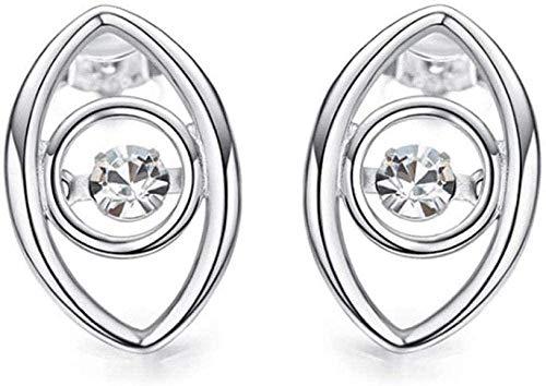 NC83 Conjunto de collar de plata de ley 925 con tachuelas, colgante hipoalergénico, curva de pestañas, piedras de baile blancas, pendientes-pendientes