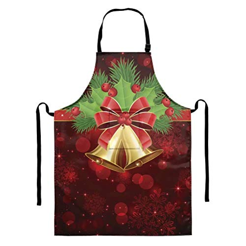 GOSTONG Jingle Bells Aprons Women Home Kitchen Apron Unisex Apron Men Dining Cooking Aprons Pocket Clearance Gardening Apron Adult BBQ Aprons Dress Cleaning Gifts Cash Apron