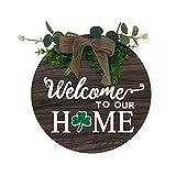 Signo De Bienvenida Intercambiable Puerta Delantera Rural De Madera Decoración Pórtico De La Granja Pórtico De La Grúa De La Puerta De Temporada Signo De Corona Familiar De 12 Pulgadas (marrón)