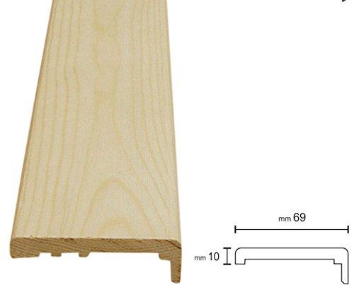 Coprifili in legno massiccio in aste da 2300 mm | confezioni da metri 11 sufficienti per entrambi i lati della porta | (10x69, Pino grezzo da verniciare)