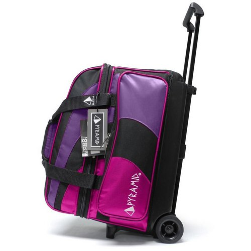 Pyramid Path Deluxe Double Roller with Oversized Accessory Pocket Bowling Bag (Black/Hot Pink/Purple)
