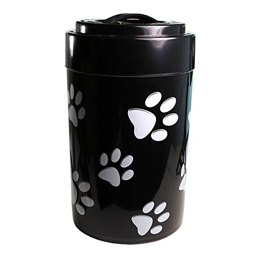 Check Out This Pawvac 5+ Pound Vacuum Sealed Pet Food Storage Container; Black Cap & Body/White Paws