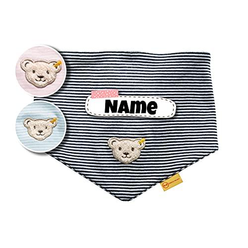 Steiff Baby Halstuch Steiff personalisiert   Bandana   individuell bestickt mit Namen   0-3 Jahre   zum binden   100% Baumwolle   3 Farben verfügbar (Marine Streifen)