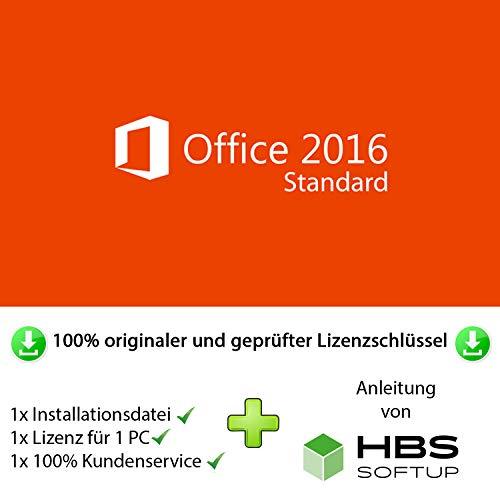 MS Office 2016 Standard 32 bit & 64 bit Vollversion Multilingual - Original Lizenzschlüssel per Post und E-Mail + Anleitung von HBS SOFTUP® - Versand max. 60Min