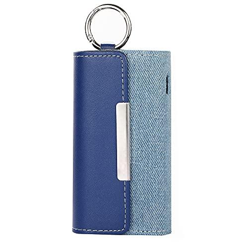 XINDONA 保護ケース アイコス3用のケース,iqos3&3duo対応財布型の収納袋 カラビナ付き 革 レザー ヒートスティック、クリーナー、ポケット充電器全部収納, IQOS3DUOに適用するケース (ブルー)