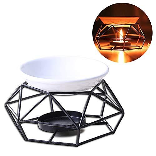 Jushi - Quemador de Aceite Esencial de Metal, portavelas geométrico c
