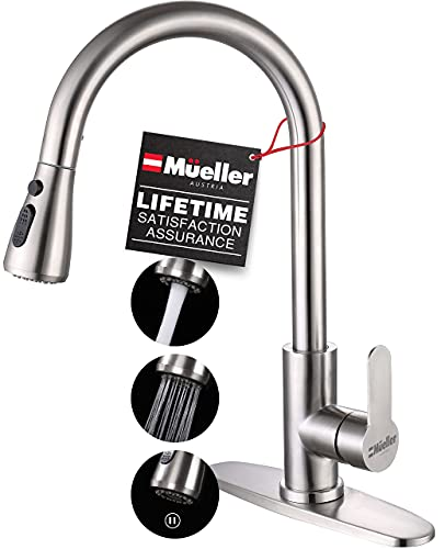 Mueller Single Handle Stainless Steel Kitchen Sink Faucet, High Arc, Single Lever, Pull-Out Sprayer Head, Stream Flow, Powerful Spray Kitchen Sink, with Deck Plate Brushed Nickel Finish