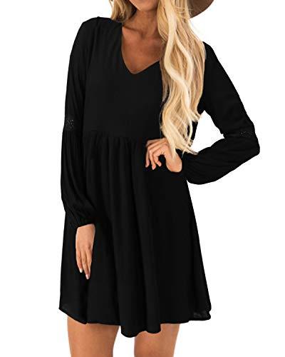 YOINS Kleider Damen Sommerkleid für Damen Brautkleid Tshirt Kleid Rundhals Langarm Minikleid Winterkleid Langes Shirt Lose Tunika Baumwolle-schwarz EU36-38