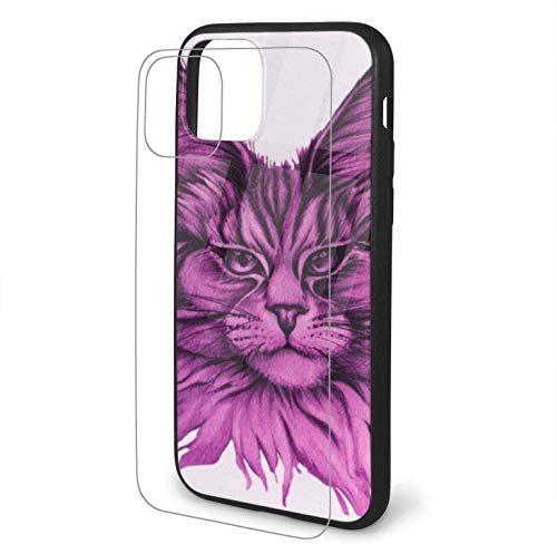 Diseño con Retrato de Gato Maine Coon Dibujado a Mano Compatible para iPhone 11 Estuche PC rígido + TPU Suave Protector a Prueba de Golpes Funda Delgada para teléfono Pro Max-iphone11Pro-