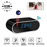 LXMIMI Hidden Camera Wireless, 140° Wide Angle Night Vision Clock Spy Camera, 1080P HD Motion Detection WiFi Mini Camera, LED Time Display Digital Clock Security Camera for Indoor Surveillance