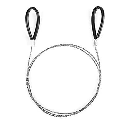 Rehomy Emergency Wire, Stainless Steel Hand Pocket Chain Wire Saw Survival Tool for Outdoor Camping Hiking Hunting