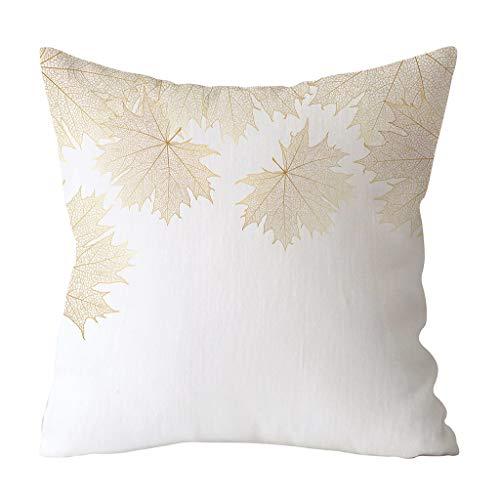 LEEDY 2019 Funda de cojín Súper Suave Funda de Almohada de impresión de la Hoja de Oro sofá Cintura decoración para el hogar Funda de Almohada 45x45cm
