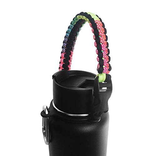 Ygro -Best Paracord Handle - Paracord Carrier Survival Strap Cord with Safety Ring and Carabiner for Hydro Flask Wide Mouth Water Bottles 12oz - 64 oz (Rainbow/Black)