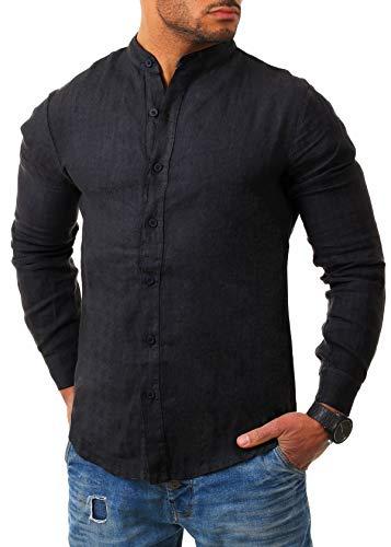 Young & Rich Herren Leinen Hemd Stehkragen Langarm körperbetont leicht tailliert 100% Leinen H1651, Grösse:L, Farbe:Schwarz
