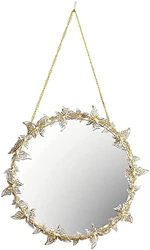 Hanging Mirror Cheap mail order sales Golden Butterfly wit Wall Make-up Max 86% OFF