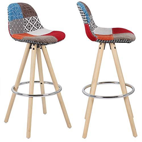 eSituro SBST0217 2X Barhocker mit Rückenlehne mit Fußstützen Holzgestell Leinen Massivholz Mehrfarbig