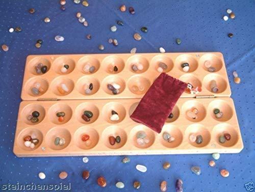Halbedelsteinspiel BAO HUS Edelsteinspiel Steinchenspiel KALAHA aus Buche massiv mit aufgravierter Spielanleitung