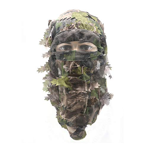 EAmber Ghillie Camouflage Leafy Hat 3D Full Face Mask Headwear Turkey Camo Hunter Hunting Accessories (Green Woodland Forest)