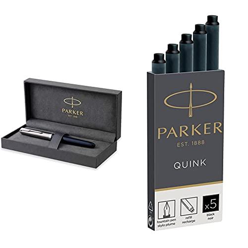 Parker 51 pluma estilográfica | cuerpo azul medianoche con adorno cromado + Quink recambios para plumas estilográficas, cartuchos largos, tinta negra, caja de 5