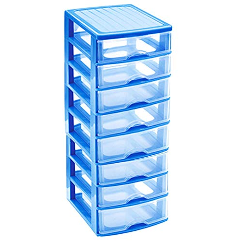 Acan Cajonera de plástico 8 cajones Azul 46 x 21.5 x 17.5