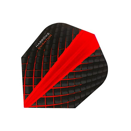 Harrows Quantum Dart Flights 3D Effekt – 100 Mikron – Standard Form – Rot – 5 Sets (15)