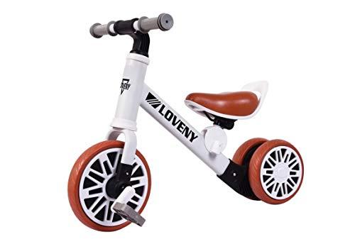 BDW Bicicleta sin pedales para niños, a partir de 18 meses, pedales 2 W1, con sillín y manillar de altura regulable.
