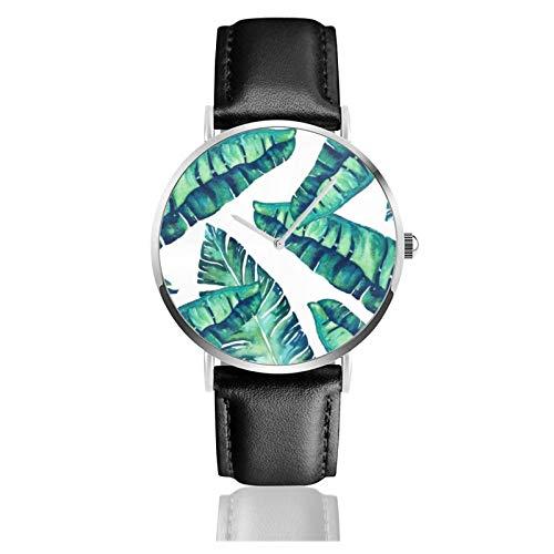 Reloj Tropical Glam Movimiento de Cuarzo Impermeable Correa de Reloj de Cuero para Hombres Mujeres Simple Business Casual Reloj