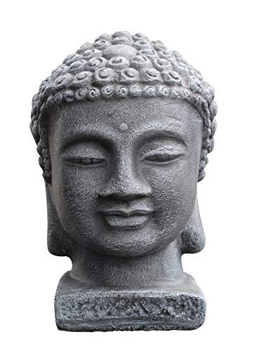 Tiefes Kunsthandwerk Buddha Kopf - Schiefergrau, Garten, Deko, Figur, Stein, Statue, Frostsicher