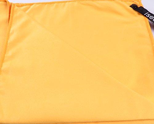 Set de 2 Toallas de Microfibra antibacteriana Secado rapido Ultra Absorbente Ideal para Sport Viajes Yoga Piscina Pilates Fitness Deportes Camping Playa + Bolsa de Viaje 160x80cm + 50x30cm Naranja